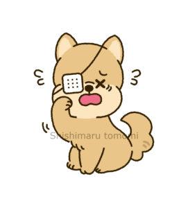 目の病気にかかる犬イラスト
